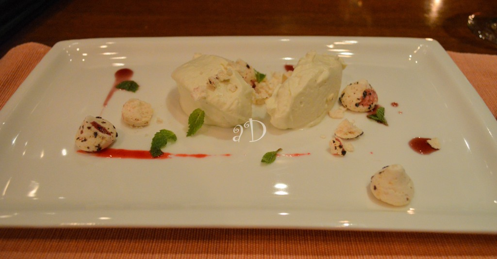 White chocolate and wasabi cream, dried berry meringue, in red wine sauce At Baan Thai, Oberoi Grand