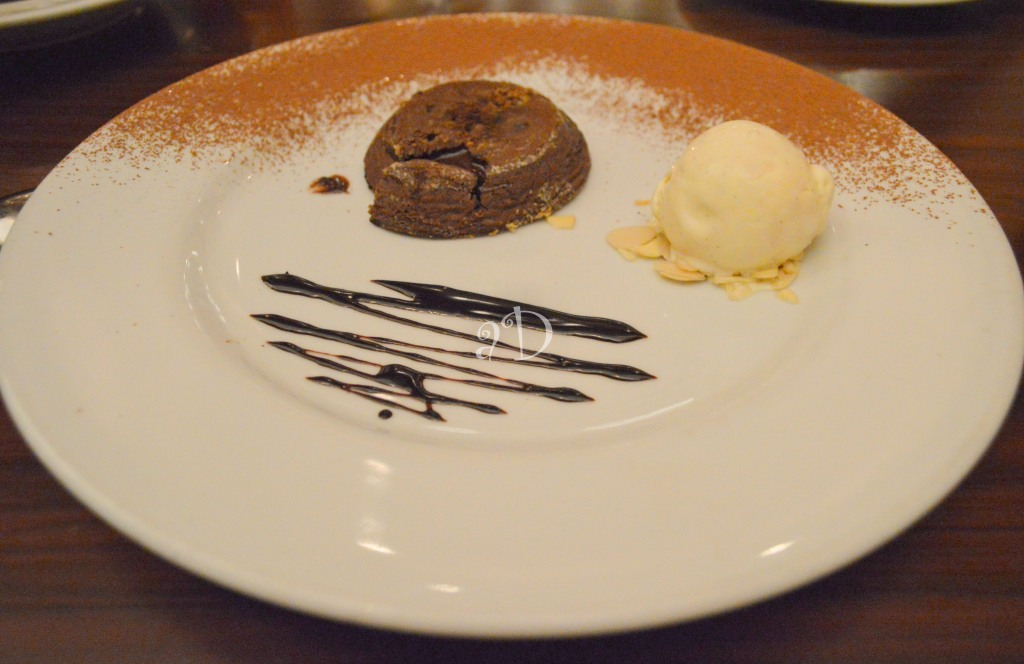 Melting chocolate Tart with icecream, At La Cucina, Hyatt Regency