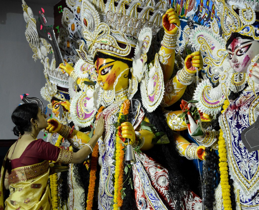 Beholding the Goddess for the last time this year, and seeking Her blessings- Durga boron is an emotional ritual for us
