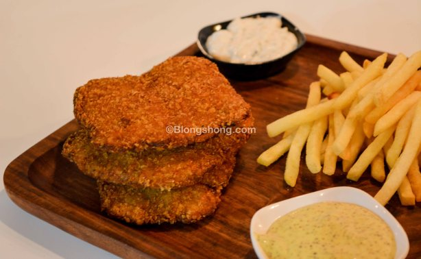 Fish and Chips, with mustard and mayo sauce